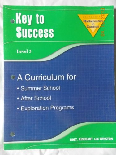 Key to Success Level 3 (Britannica Mathematics in Context) - RINEHART AND WINSTON HOLT