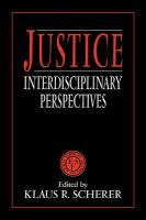 Justice: Interdisciplinary Perspectives