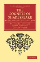 The Sonnets of Shakespeare: Edited from the Quarto of 1609