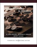 Case Problems in Finance + Excel templates CD-ROM: WITH Excel Templates CD-ROM
