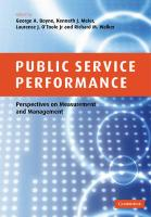 Public Service Performance: Perspectives on Measurement and Management