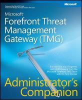 Microsoft(r Forefront(tm) Threat Management Gateway (Tmg) Administrator's Companion