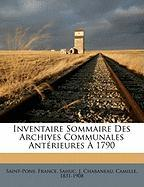Inventaire Sommaire Des Archives Communales Ant Rieures 1790