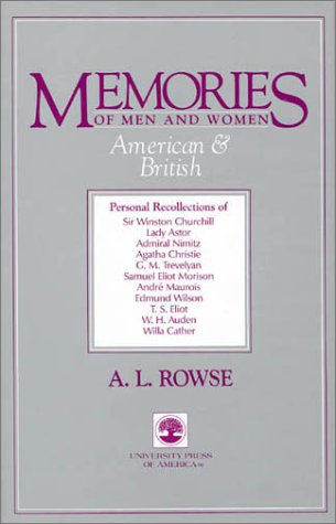 Memories of Men and Women American  &  British - Alfred Leslie Rowse