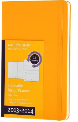 2014 18 Month Planner - Weekly - Turntable - Large - Orange Yellow - Hard Cover - Moleskine