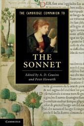 The Cambridge Companion to the Sonnet. Edited by A.D. Cousins and Peter Howarth - Cousins, A. D. / Howarth, Peter