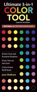 Ultimate 3-in-1 Color Tool: - 24 Color Cards with Numbered Swatches - 5 Color Plans for each Color - 2 Value Finders Red & Green - Wolfrom, Joen