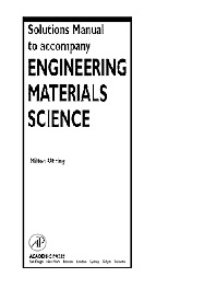Solutions Manual to accompany Engineering Materials Science