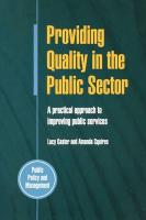 Providing Quality In The Public Sector: A Practical Approach to Improving Public Services (Public Policy and Management)