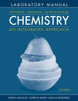 General, Organic, and Biological Chemistry Laboratory Manual: An Integrated Approach