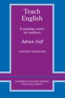 Teach English Trainer's Handbook: A Training Course for Teachers