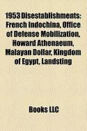 1953 Disestablishments: French Indochina, Office of Defense Mobilization, Howard Athenaeum, Malayan Dollar, Kingdom of Egypt, Landsting