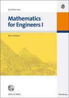 Mathematics for Engineers I