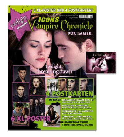 Icons Vampire Chronicle Twilight, Limited Edition, alle Infos zu: Breaking Dawn - Bis(s) zum Ende der Nacht (Teil 2), Robert Pattinson u.v.m. + 6 XL-Poster + 4 Postkarten + Sticker! - Thomas Vogel Media