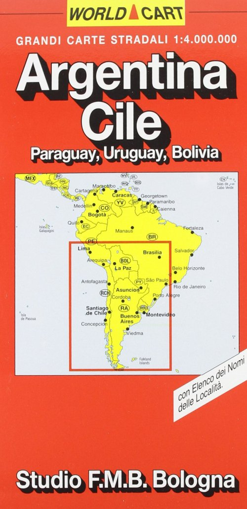 Argentina. Cile. Paraguay. Uruguay. Bolivia 1:4.000.000