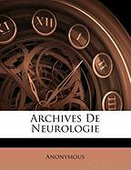 Archives de Neurologie - Anonymous