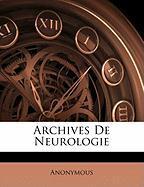 Archives de Neurologie - Anonymous