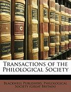 Transactions of the Philological Society - Publishers, Blackwell