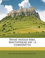 What Would Mrs. Macthinkar Say: A Comedietta - Millikin, Dan