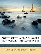 Notes of Travel. a Summer Trip Across the Continent - Beecher, Jacob F.