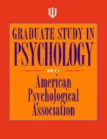 Graduate Study in Psychology 2011 - American Psychological Association