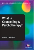 What Is Counselling and Psychotherapy? - Claringbull