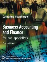 Business Accounting and Finance for Non-Specialists - Gowthorpe, Catherine