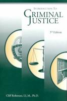Introduction to Criminal Justice - Roberson, Cliff